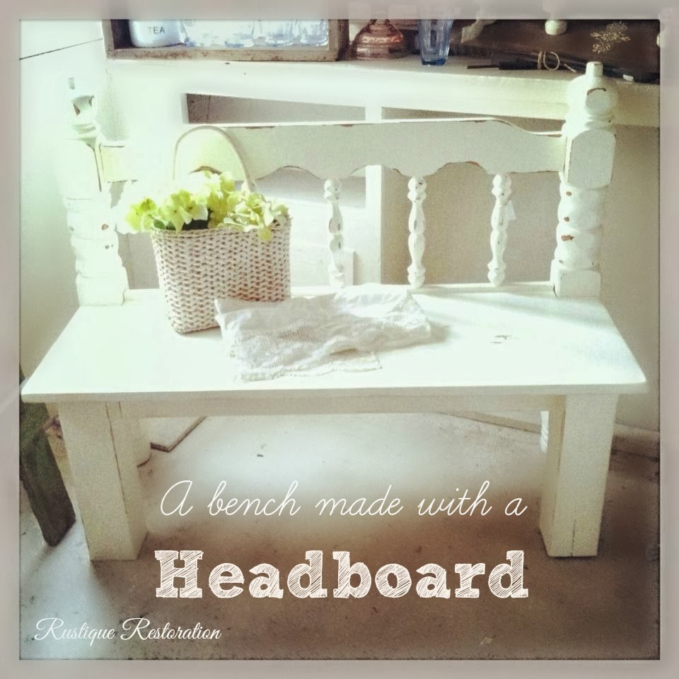 rustique restoration cute shabby bench made with an old headboard