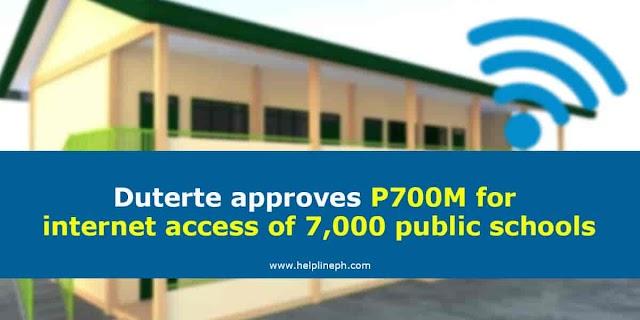 Duterte approves P700M for internet access of 7,000 public schools