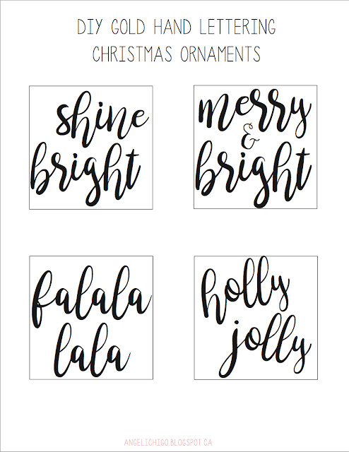{DIY} Gold Hand Lettering Christmas Ornaments - Template