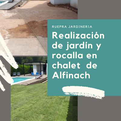 Realización de jardín y rocalla en un chalet de Alfinach - Por Ruepra Jardinería