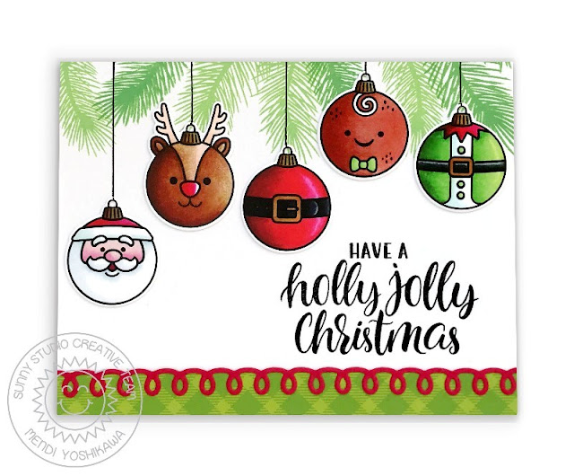 Sunny Studio Holly Jolly Christmas Santa, Reindeer, Gingerbread & Elf Ornament Card (using Deck The Halls & Classy Christmas Stamps, Icing Border Dies & All Is Bright Paper)