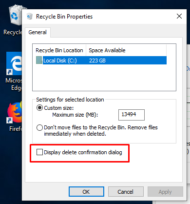 Display Delete Confirmation Dialog