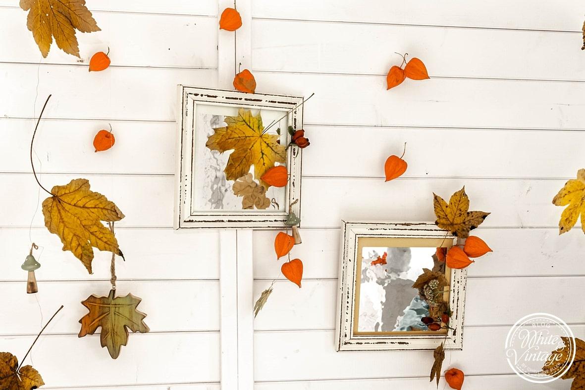 Bilderrahmen mit Herbstmaterialien schmücken.