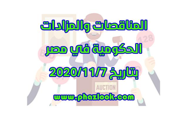 مناقصات ومزادات مصر في 2020/11/7