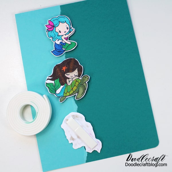 Mermaid rubber stamps from The Greeting Farm are darling and fun to color with Tombow Dual Brush Pens.