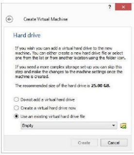 Window Pengaturan Hard Disk di Virtual  Machine