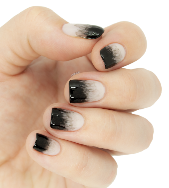 smoky black nail art gradient
