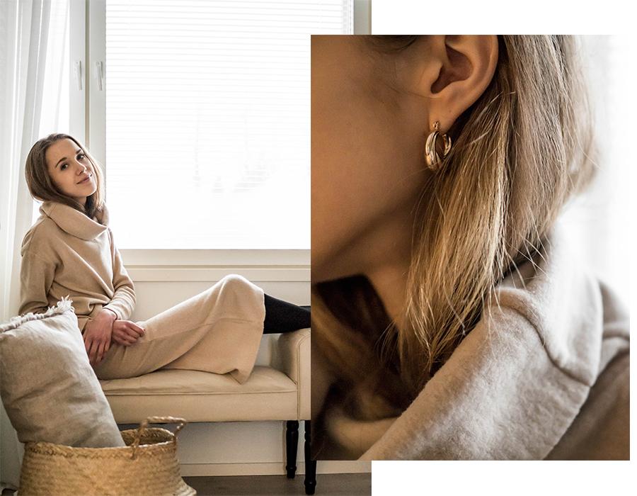 Asuinspiraatio, beige neuleasu, muotibloggaaja Helsinki // Outfit inspiration, beige knitted co-ord, fashion blogger Finland