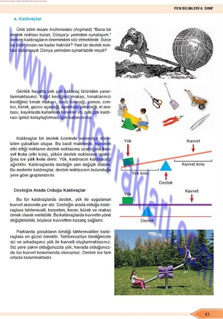 Öğün Yayınları 8. Sınıf Fen Bilimleri Ders Kitabı Cevapları Sayfa 43
