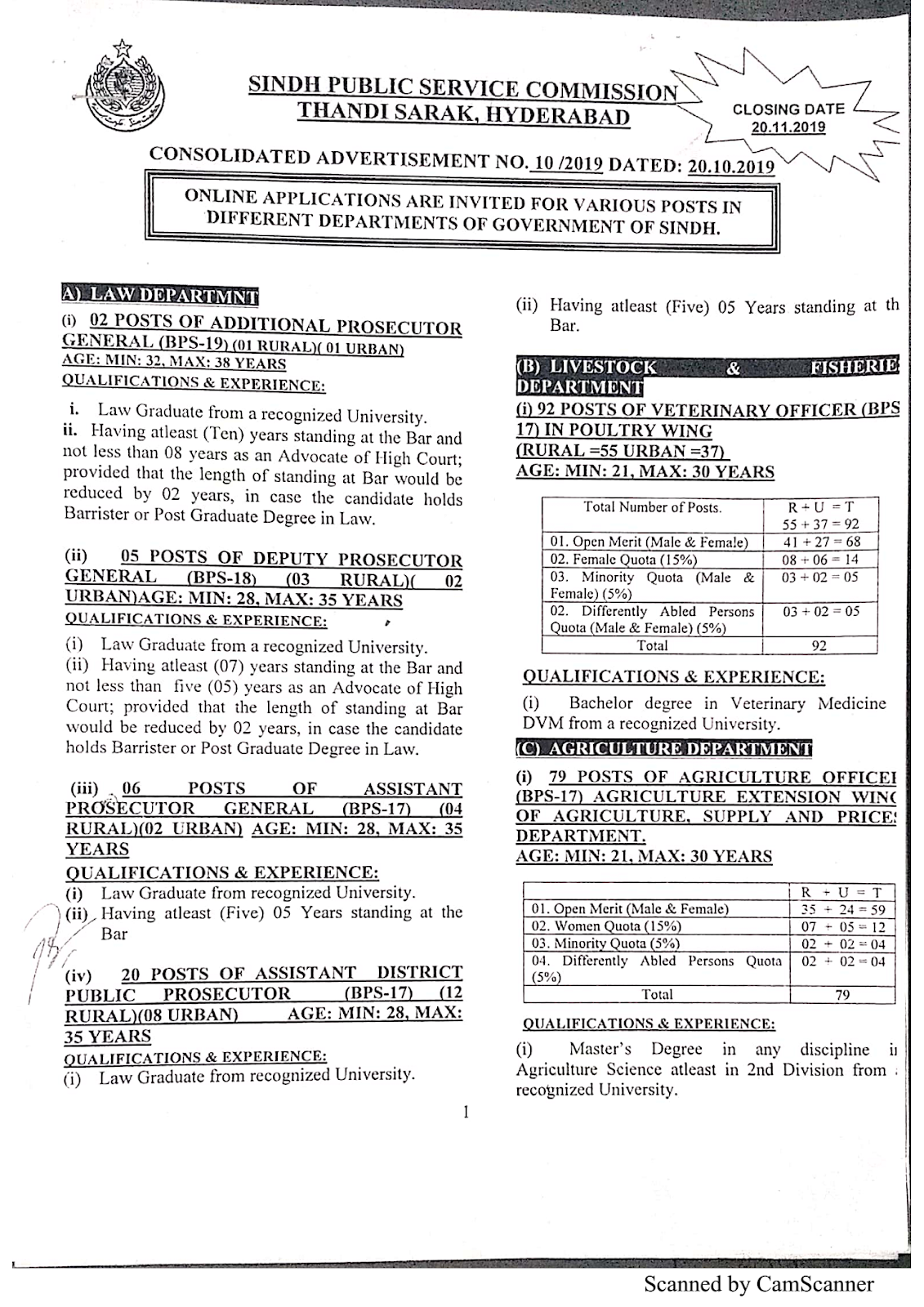 SPSC – SINDH PUBLIC SERVICE COMMISSION (AD NO. 10/2019) Latest Jobs Advertisement – Apply Online