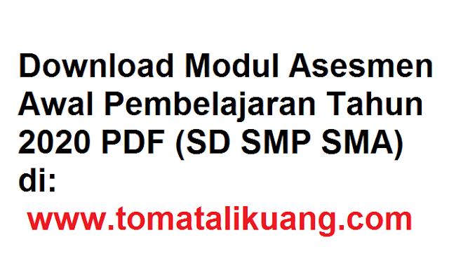 Download Modul Asesmen Awal Pembelajaran Tahun 2020 PDF tomatralikuang.com