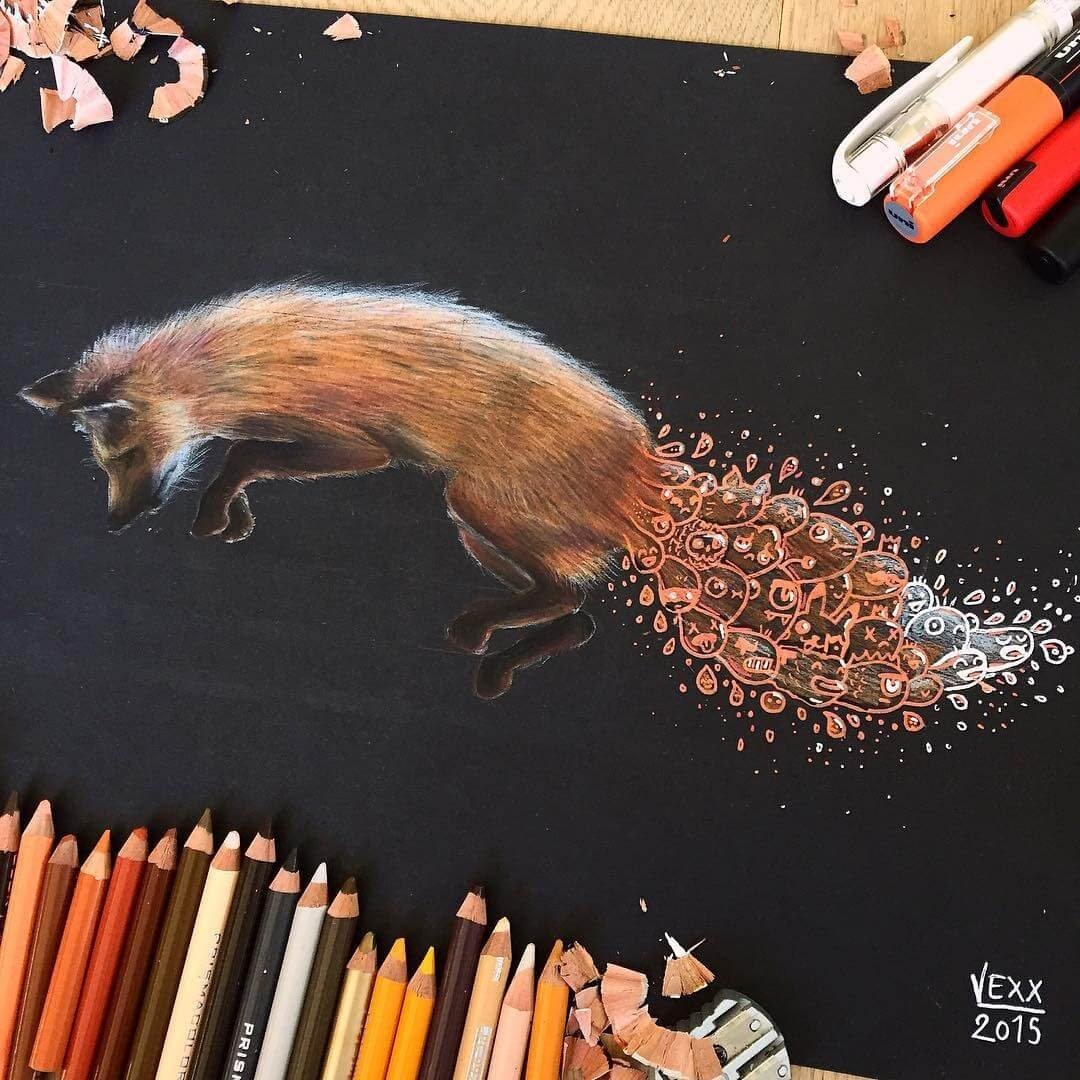 03-The-Fox-Vince-Okerman-aka-Vexx-11-Doodle-Drawings-and-1-Painting-www-designstack-co