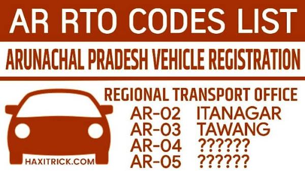 Arunachal Pradesh (AR) Vehicle Registration RTO Code