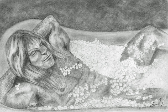Vincent laying with his hands behind his head in a bubblebath. Bubbles tragically obscuring his many assets