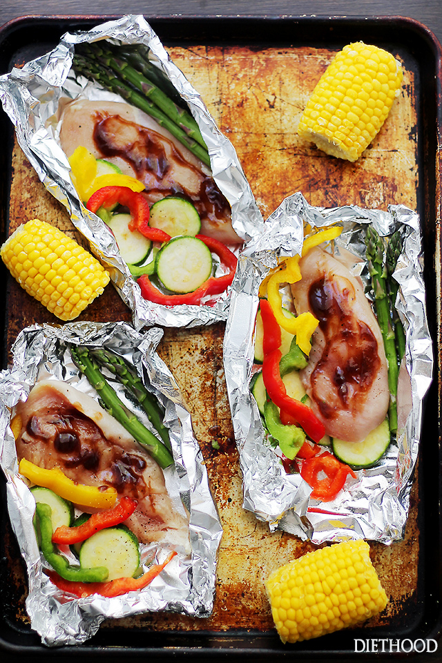 Grilled Barbecue Chicken And Vegetables In Foil Enzofter