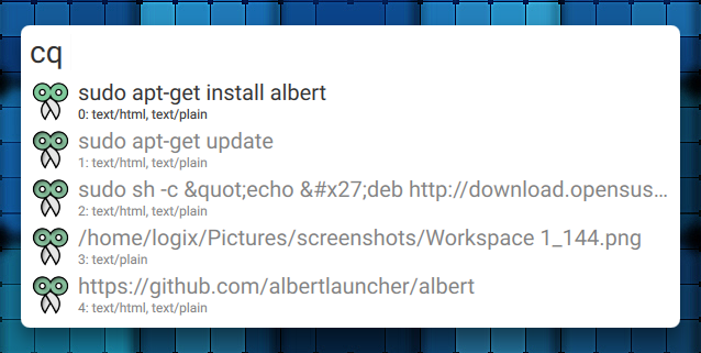 Albert Launcher clipboard integration