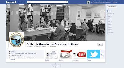 Califoria Genealogical Society at Facebook.com/CAancestors
