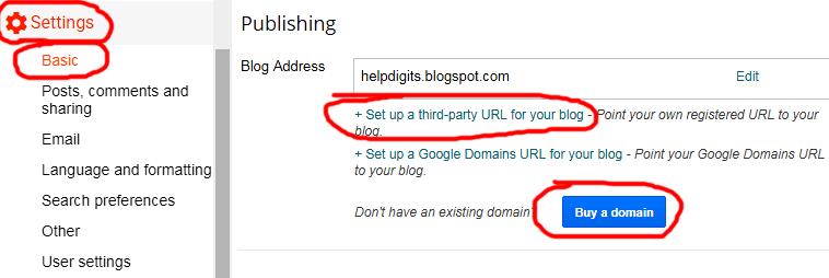 Blogger Domain Setup Page