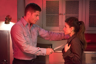 "Jensen Ackles as Dean Winchester and Weronika Rosati as Delphine Seydoux in Supernatural 11x14 ""The Vessel"""