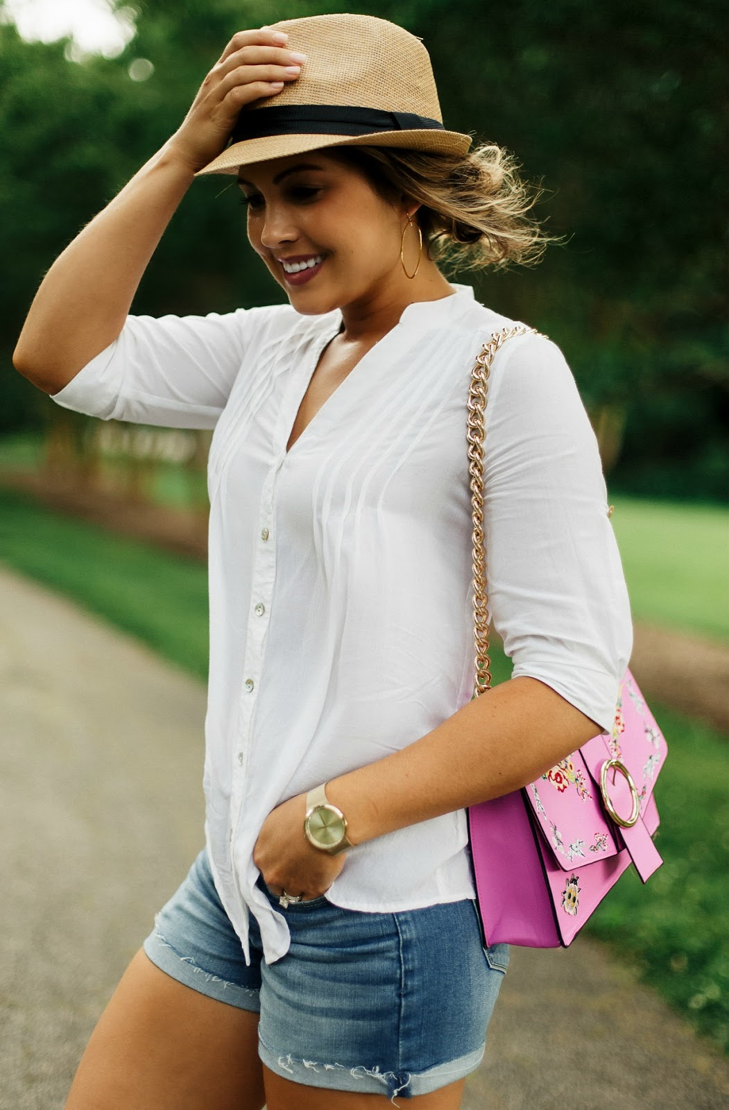 bp straw fedora, white tunic, abercrombie denim shorts, flowy white tunic