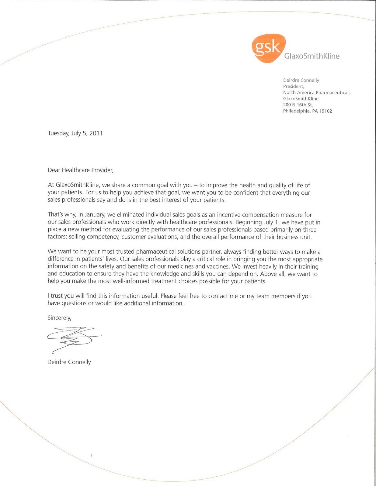 I Received The Attached Dear Doctor Letter Yesterday And Upon Reading Contents Must Commend GSK On Their Corporate Responsibility In Creating A