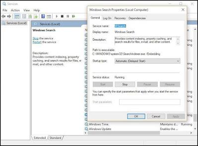 قم بإيقاف تشغيل فهرسة البحث في ويندوز Windows 10