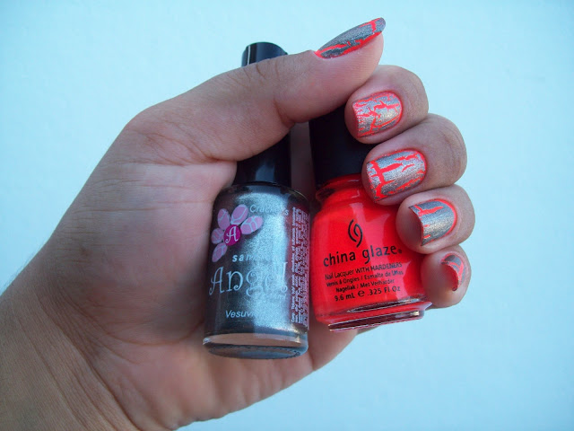 Orange Knockout, China Glaze; Vesuvio, Sancion Angel