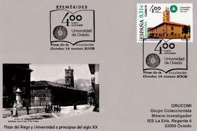 tarjeta, matasellos, PDC, sello, Universidad, Oviedo