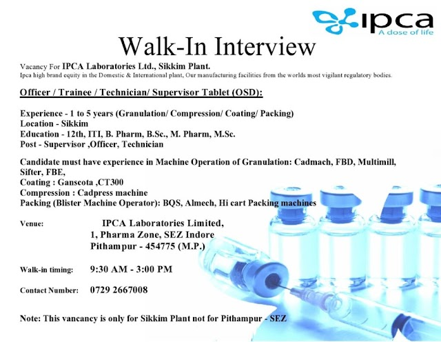 IPCA Labs | Walk-in for Multiple positions in Tablet Manufacturing on 3rd Jan 2021