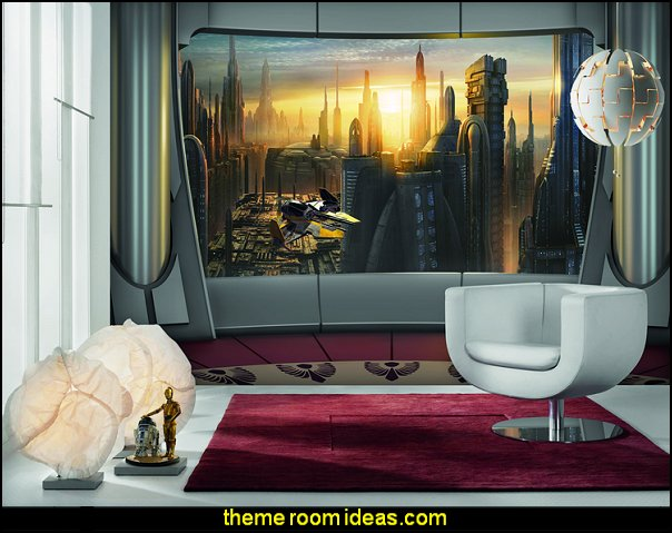 Star Wars - Coruscant View mural     Star Wars Bedrooms - Star Wars Furniture - Star Wars wall murals - Star Wars wall decals - Star Wars bed - space ships theme beds - Star Wars Bedroom - Star Wars Decor - Sci Fi theme bedrooms - alien theme bedrooms - Stormtrooper Star Wars Theme Beds - Star Wars bedroom decor