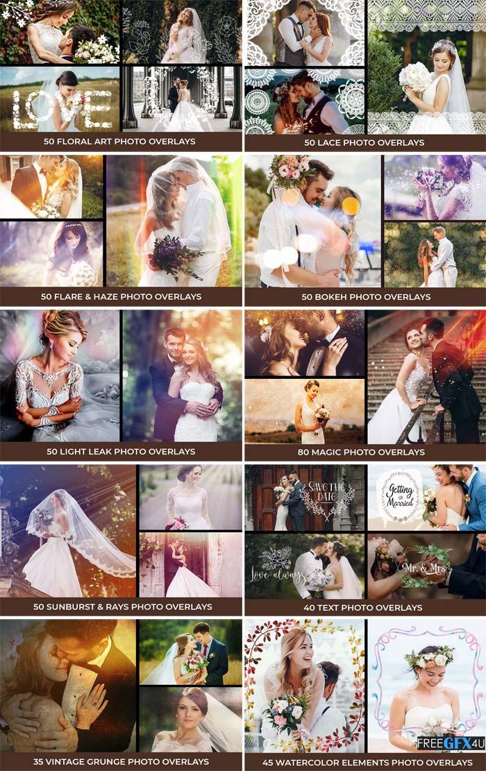 500 Dreamy Wedding Photo Overlays Bundle