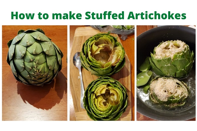 this is a recipe for breadcrumbs garlic stuffed artichokes in a collage step by step