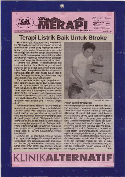 Liputan koran merapi jogja - Terapi pengobatan PAK PUR