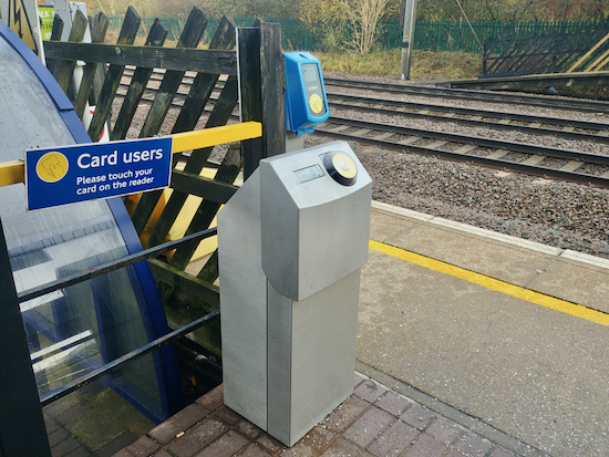 Contactless reader by the ticket office on the north-bound platform at Welham Green station  Image by North Mymms News released under Creative Commons BY-NC-SA 4.0