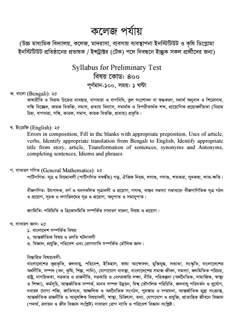 Syllabus of the 5th Registration Examination College