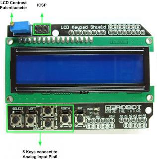 DIAGRAM LCD KARAKTER KEYPAD SHIELD 16X2