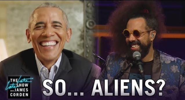 Barack Obama on the late late show talking about UFOs and Aliens with James Cordon and Reggie.