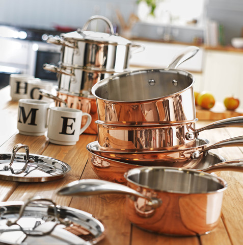 Copper 5 piece pan set