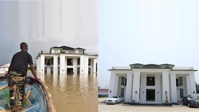 Karma? Flood Destroys Delta State Politician's Multi-Million Naira Mansion