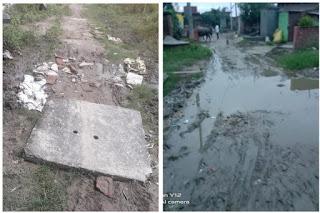 गांवों के विकास की खुली पोल, सड़क नाला न होने से रास्ते पर भरा पानी