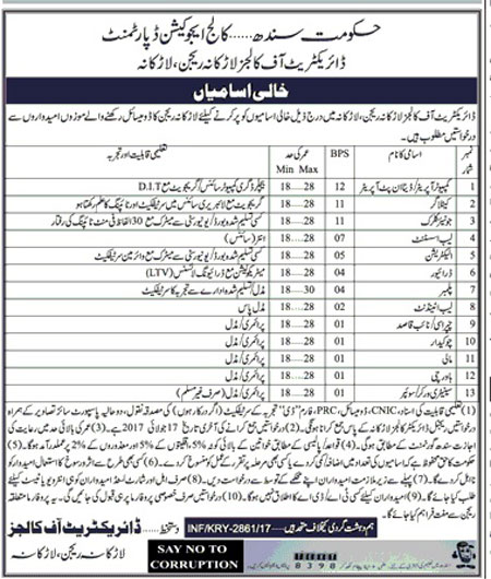 Larkana Jobs In Education Department Govt Of Sindh May 2017