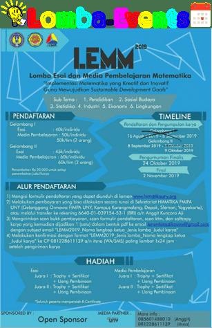 Lomba Essay dan Media Matematika LEMM UNY 2019 Mahasiswa Se-Jawa