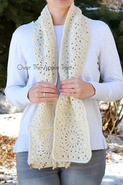 Neutral Granny Square Scarf by Over The Apple Tree