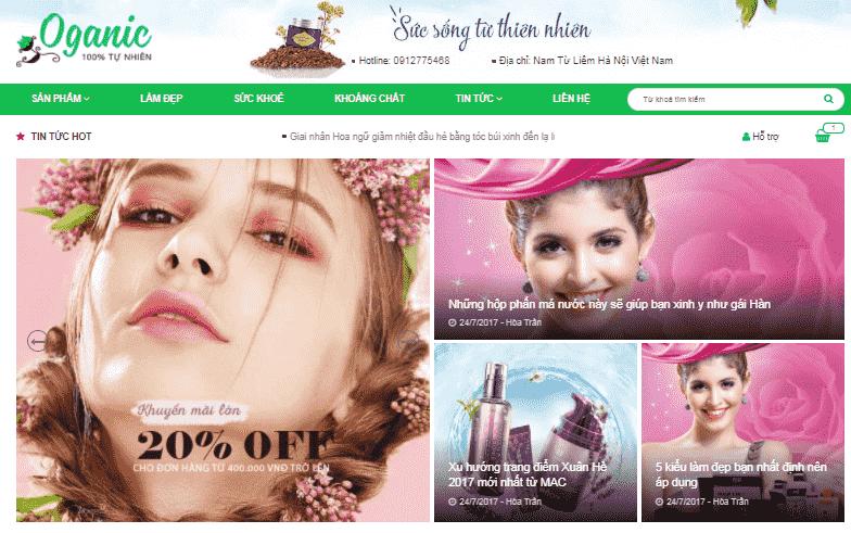 Giao diện bán hàng Mỹ phẩm cho blogspot