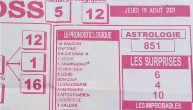 Pronostics quinté pmu jeudi Paris-Turf TV-100 % 19/08/2021