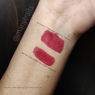swatches of kiko milano double touch in shade 105 scarlet