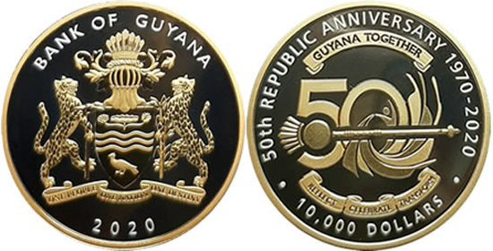 Guyana 10.000 dollars 2020 - 50 Years of the Republic