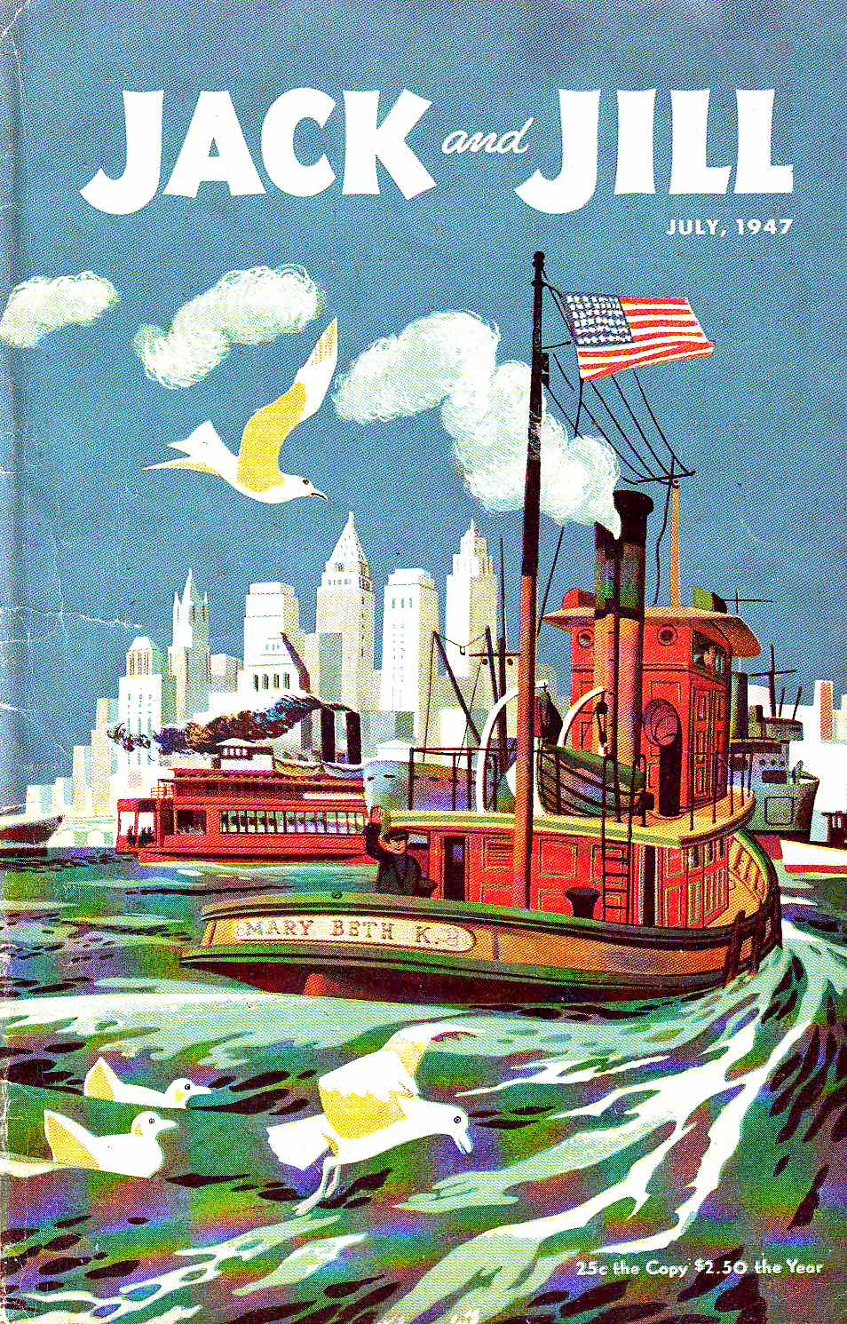 a 1947 children's Jack & Jill by Joe and Beth Krush, a busy urban harbour