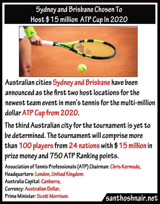 Sydney and Brisbane chosen to host $15 million ATP Cup in 2020