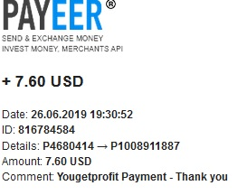 YouGetProfit Payout Proof